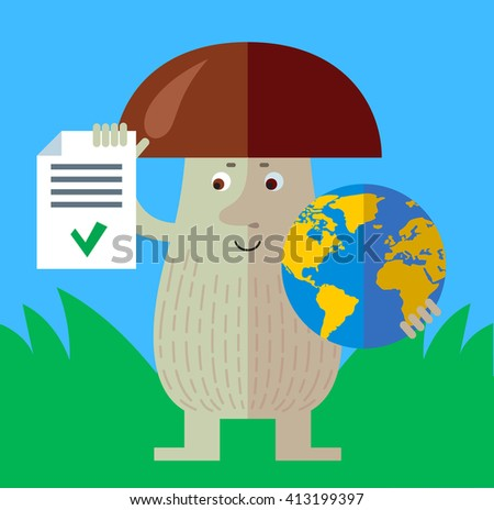 Brown mushroom holding a globe and check list with green mark. Flat style vector illustration. Funny cartoon character , forest mushroom, wild cep, fungus