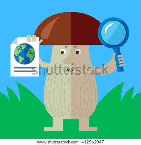 Brown mushroom with magnifier glass and earth icon. Global search. Flat style vector illustration. Funny cartoon character , forest mushroom, wild cep, fungus