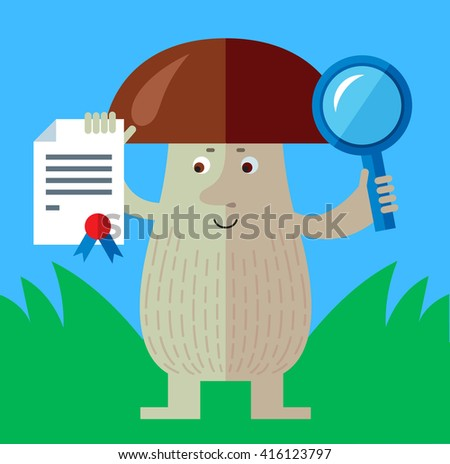 Brown mushroom with magnifier glass and graduation diploma. Flat style vector illustration. Funny cartoon character , forest mushroom, wild cep, fungus