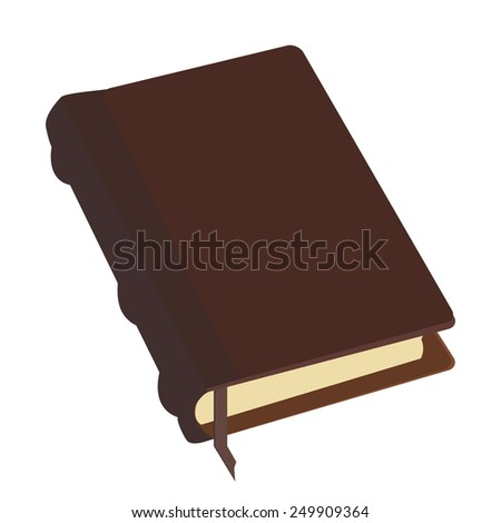 Brown old leather book empty with bookmark vector icon, literature, bible, law, organizer - stock vector