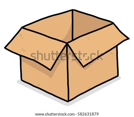 open box clipart. brown open box cartoon vector and illustration hand drawn style isolated on white clipart