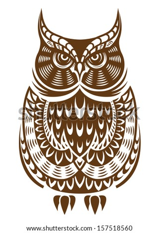 Brown owl with decorative ornament isolated on white background or idea of logo. Jpeg version also available in gallery - stock vector