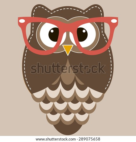 Brown owl with glasses - stock vector