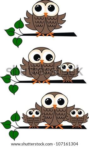 brown owls - stock vector