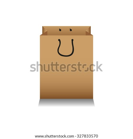 Brown paper bag on white background - stock vector