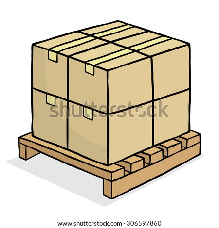 brown paper box and wooden pallet / cartoon vector and illustration, hand drawn style, isolated on white background. - stock vector