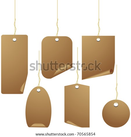 Brown paper price tag isolated on white