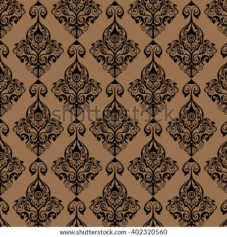 Brown Pattern damask wallpaper for interior - stock vector