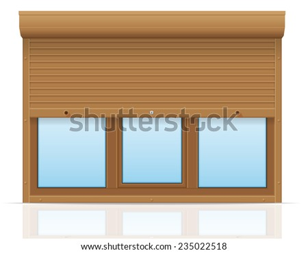 brown plastic window with rolling shutters vector illustration isolated on white background - stock vector