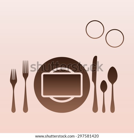 Brown plate with spoon, knife and fork
