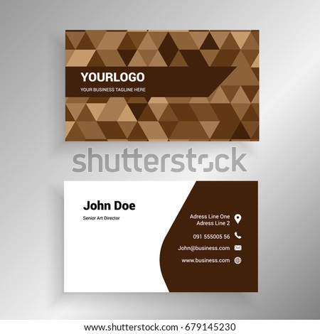 Brown polygonal coffee color vector modern stock photo photo brown polygonal coffee color vector modern creative and clean business card template reheart Image collections
