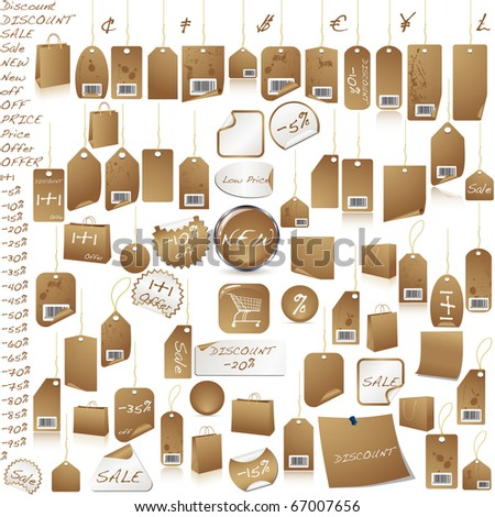 Brown price tag set isolated on white vector - stock vector