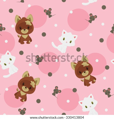Brown puppy, gray little mouse and white kitten seamless pattern. Childish vector cartoon illustration - stock vector