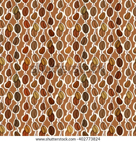 Brown seamless pattern coffee seeds texture background. Black coffee design for coffee shop menu, wrapping paper, fabric, cafe interior design vector illustration - stock vector