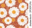 Brown seamless pattern with daisies - stock vector