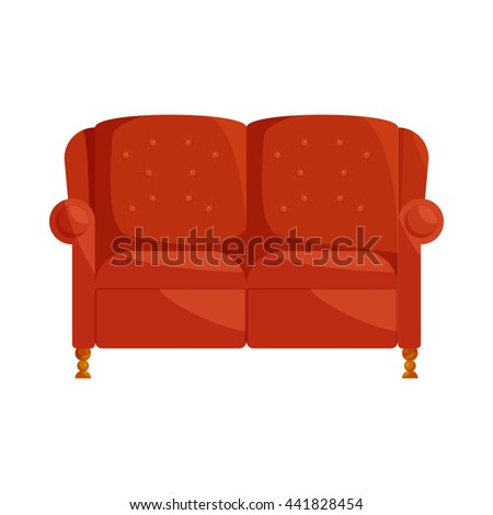 Brown sofa icon in cartoon style on a white background - stock vector