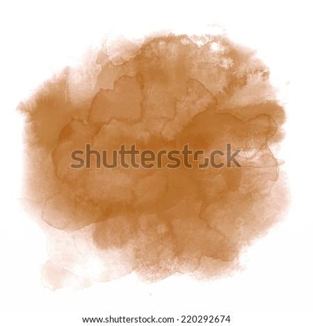 Brown spot, watercolor abstract hand painted background - stock vector