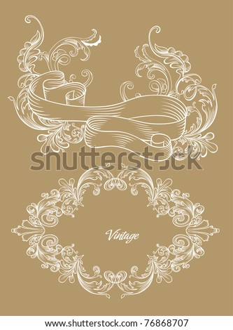 brown sugar paper with vintage drawn cover design - stock vector