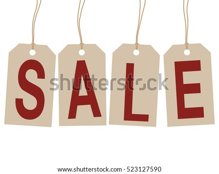 brown tags with word sale, white background