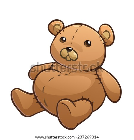 Drawing Teddy Bear Isolated On White Stock Vector ...