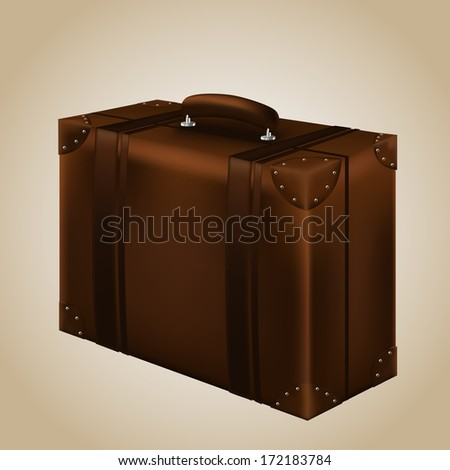 Brown Travel Suitecase. Vector Illustration - stock vector