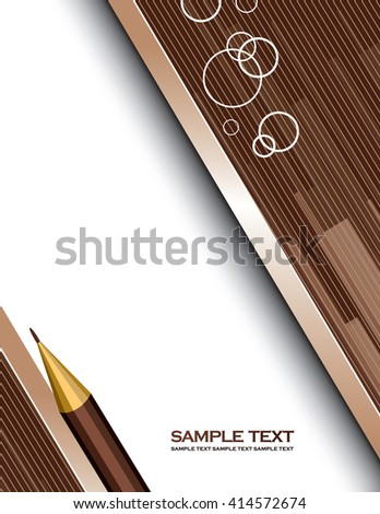 Brown Vector Background with a Notepad and a Pencil. - stock vector
