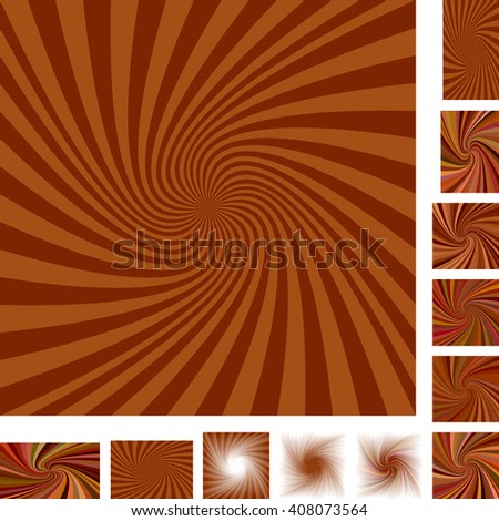 Brown vector spiral design background set. Different color, gradient, screen, paper size versions. - stock vector