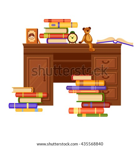 Brown vector table with piles of color books, a photo frame, clock and a teddy-bear on it. Love reading. Cartoon interior illustration. Cute furniture. Home library - stock vector