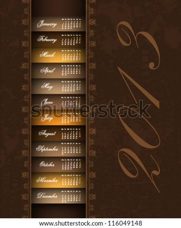 brown vintage 2013 calendar background - stock vector