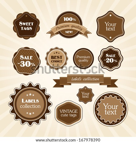 Brown vintage labels - stock vector