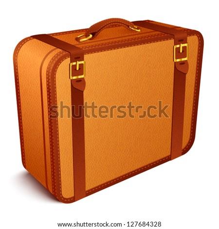 Brown vintage traveler's vector suitcase - stock vector
