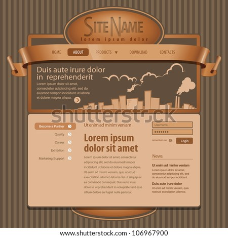 Brown Website Template 960 Grid. - stock vector