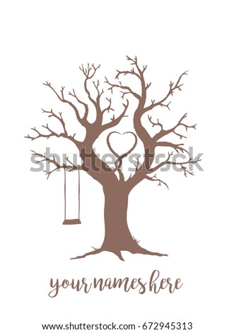 Brown Wedding Wish Tree With Swing And Heart