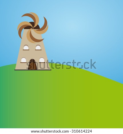 Brown Windmill On Green Hill With Blue Sky - stock vector