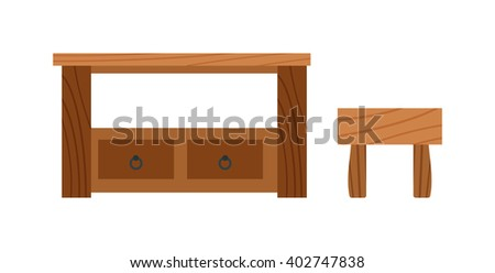 Brown wood table and school wood table. Grunge wood table and interior wood table accessory. Empty interior wood table. Wooden old brown table and wood desk surface retro flat vector isolated. - stock vector