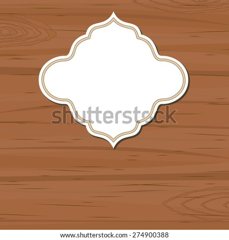 Brown wooden background with blank retro label - stock vector