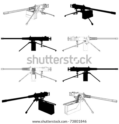 Browning Machine Gun Vector 02 - stock vector