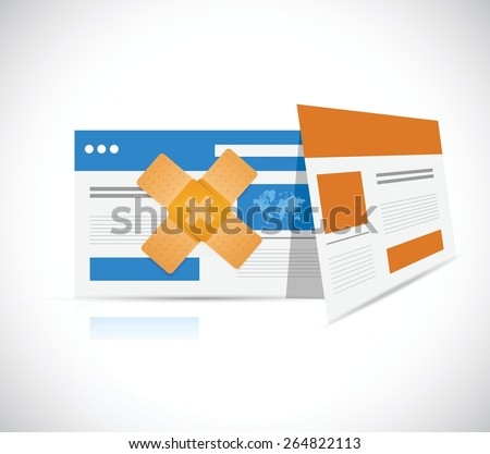 browser band aid fix solution concept illustration design over white background