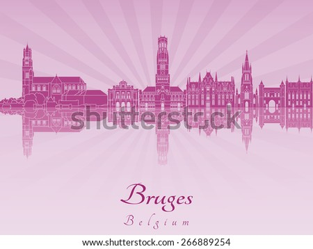 Bruges skyline in purple radiant orchid in editable vector file - stock vector