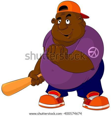 Bruiser, a bully, a felon with a baseball bat. - stock vector