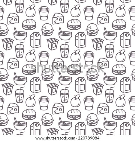 Brunch and Breakfast Repeating Seamless Food Pattern - stock vector
