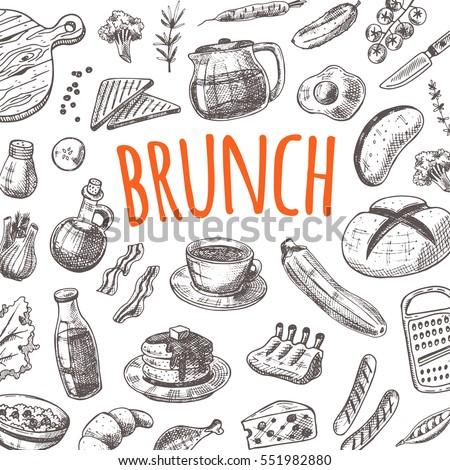 Restaurant Kitchen Hand kitchen supplies set hand drawn vector stock vector 481807519