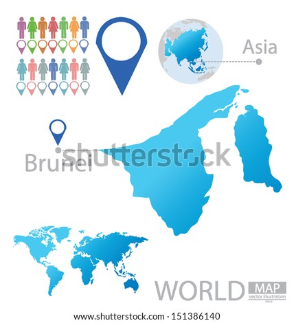 Brunei. Asia. World Map. vector Illustration.