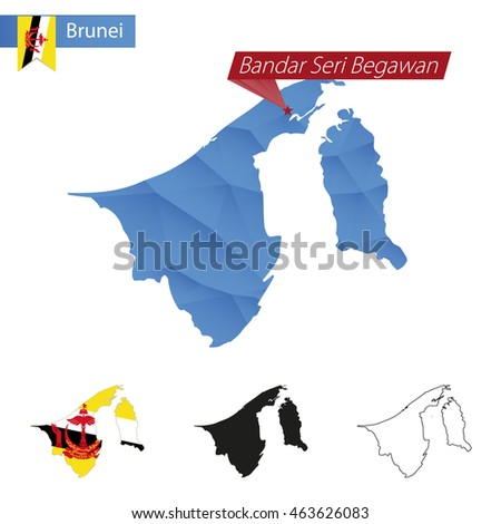 Brunei blue Low Poly map with capital Bandar Seri Begawan, versions with flag, black and outline. Vector Illustration.