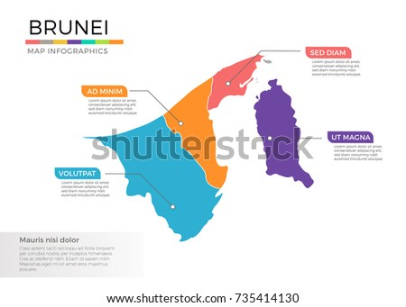 Brunei map infographics vector template with regions and pointer marks