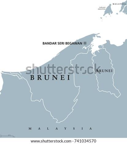 Brunei Political Map Capital Bandar Seri Stock Photo Photo Vector