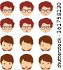 Brunet girl and spectacled boy emotions: joy, surprise, fear, sadness, sorrow, crying, laughing, cunning wink. Vector cartoon illustration - stock vector