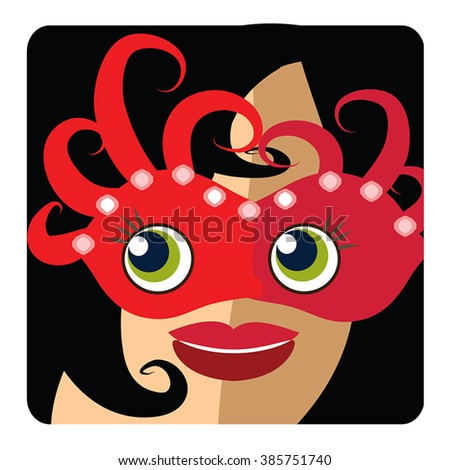 Brunette woman head icon, avatar - beauty girl wear red carnival mask. Glamour young woman smiling user picture on square button. Vector flat illustration for festival, birthday, incognito.
