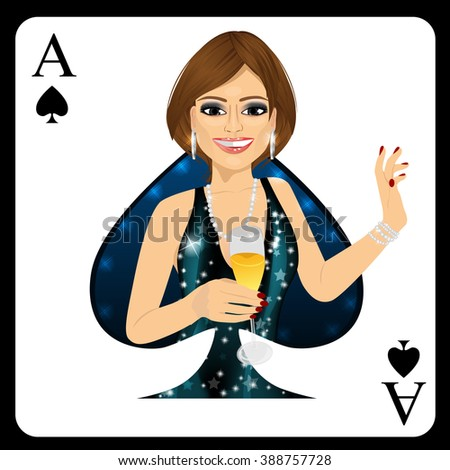 brunette woman representing ace of spades card from poker game - stock vector
