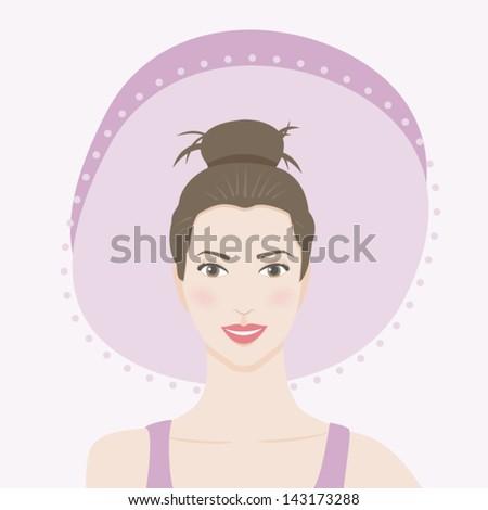Brunette woman smiling - stock vector